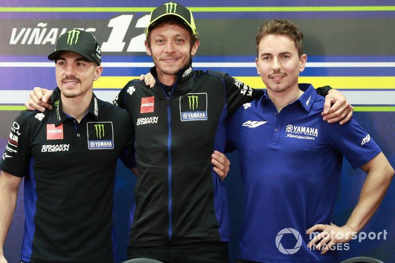"Maverick Vinales, Yamaha Factory Racing, Valentino Rossi, Yamaha Factory Racing, Jorge Lorenzo, Yamaha Factory Racing<span class=""copyright"">Gold and Goose / Motorsport Images</span>"