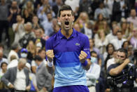 Novak Djokovic, of Serbia, reacts after defeating Alexander Zverev, of Germany, during the semifinals of the US Open tennis championships, Friday, Sept. 10, 2021, in New York. (AP Photo/Elise Amendola)