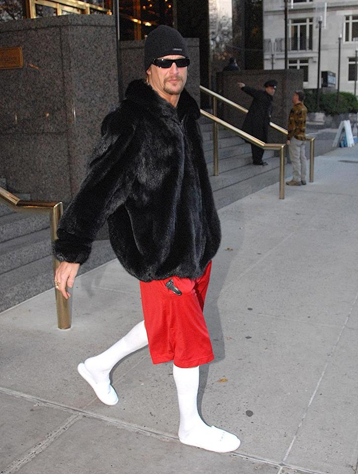 "Will somebody please tell Kid Rock that fur isn't fashionable, especially when paired with mesh shorts, knee-high socks, and dainty slippers. Lakota/<a href=""http://www.splashnewsonline.com"" target=""new"">Splash News</a> - November 17, 2008"