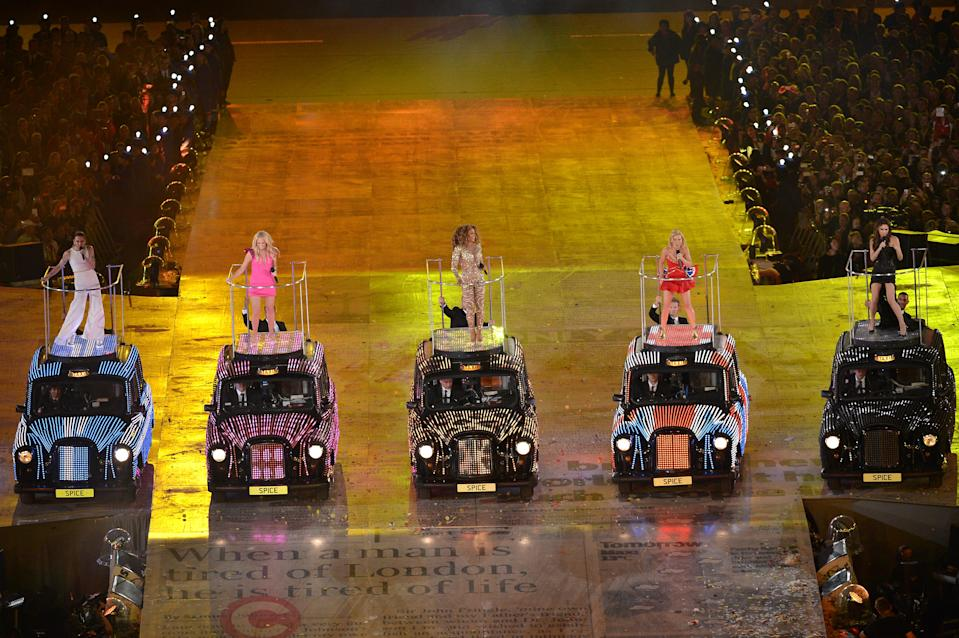 Melanie Chisholm, Emma Bunton, Melanie Brown, Geri Halliwell and Victoria Beckham of The Spice Girls perform during the Closing Ceremony on Day 16 of the London 2012 Olympic Games at Olympic Stadium on August 12, 2012 in London, England. (Photo by Stu Forster/Getty Images)