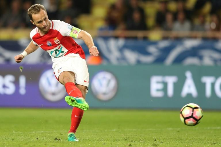 "Monaco's forward Valere Germain kicks the ball during the French Cup football match between Monaco  vs Lille at the ""Louis II"" stadium, in Monaco, on April 4, 2017"