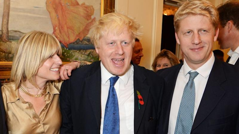 Boris Johnson, flanked by his brother Jo and sister Rachel