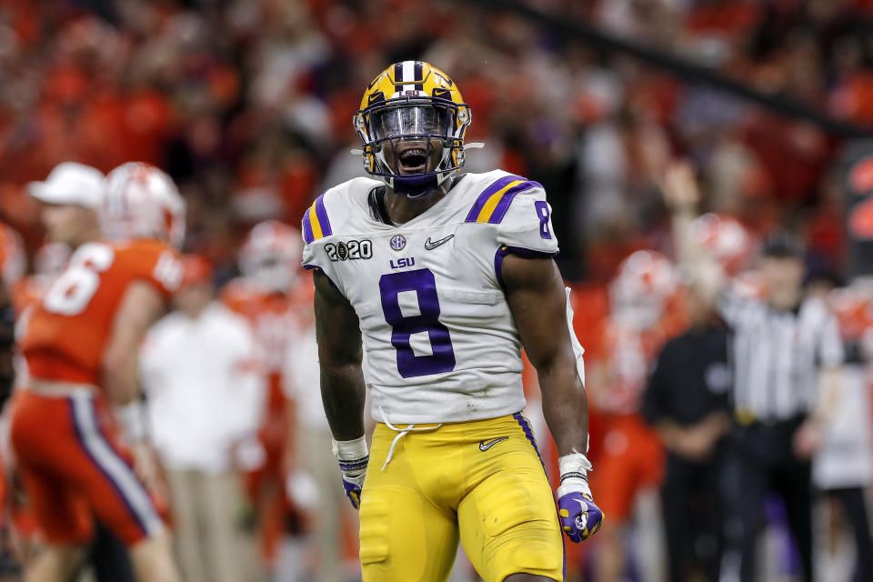 Former LSU linebacker Patrick Queen just plays like a Raven, making him a favorite pick for Baltimore in the 2020 NFL draft. (Photo by Don Juan Moore/Getty Images)