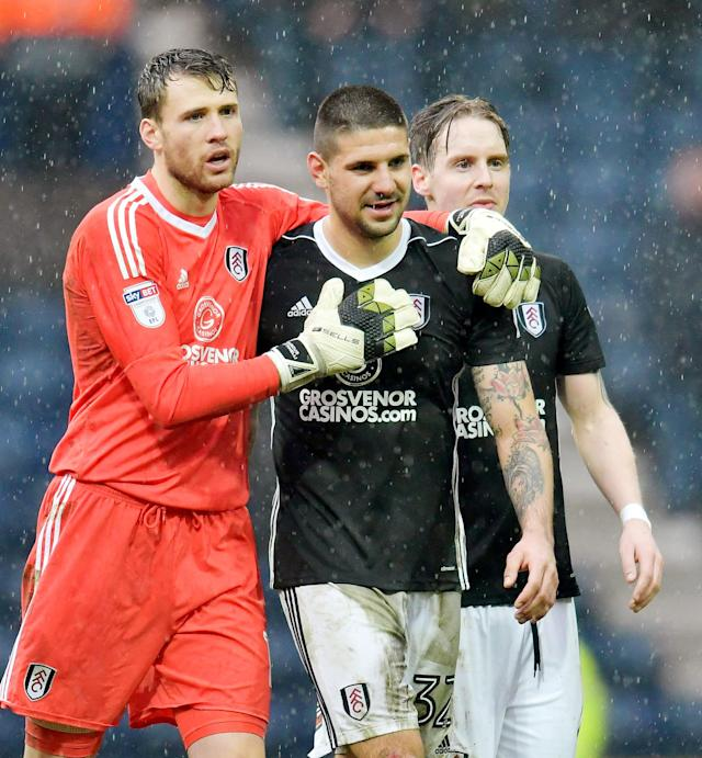 "Soccer Football - Championship - Preston North End vs Fulham - Deepdale, Preston, Britain - March 10, 2018 Fulham's Aleksandar Mitrovic celebrates with Marcus Bettinelli after the match Action Images/Paul Burrows EDITORIAL USE ONLY. No use with unauthorized audio, video, data, fixture lists, club/league logos or ""live"" services. Online in-match use limited to 75 images, no video emulation. No use in betting, games or single club/league/player publications. Please contact your account representative for further details."