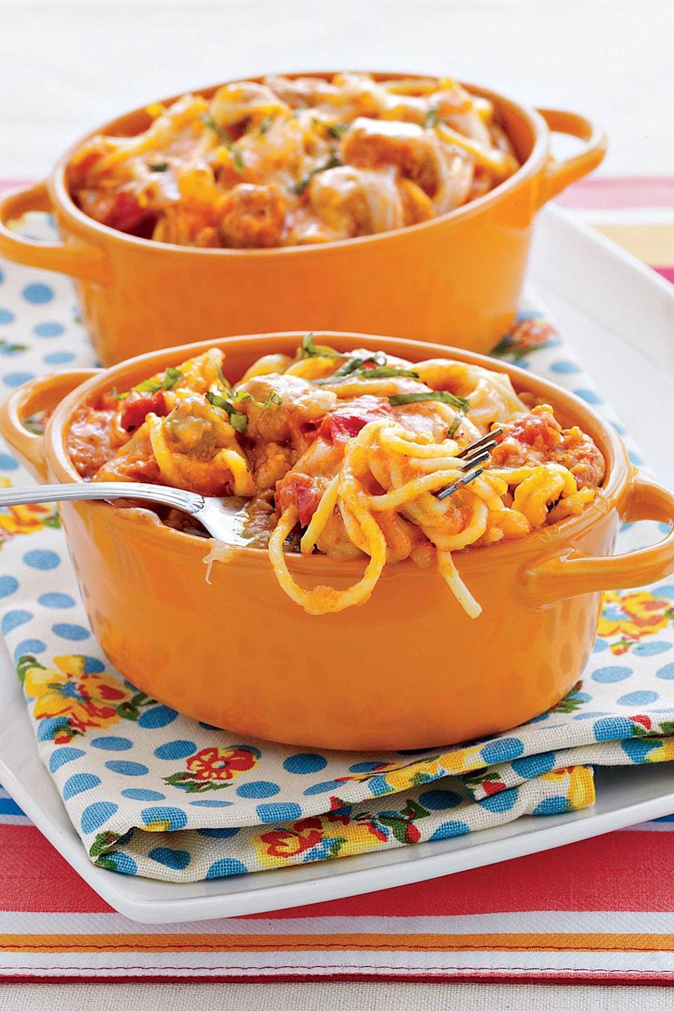 """<p><strong>Recipe: <a href=""""http://www.myrecipes.com/recipe/baked-four-cheese-spaghetti"""" rel=""""nofollow noopener"""" target=""""_blank"""" data-ylk=""""slk:Baked Four-Cheese Spaghetti with Italian Sausage"""" class=""""link rapid-noclick-resp"""">Baked Four-Cheese Spaghetti with Italian Sausage</a></strong></p> <p>Open sausage casings using kitchen shears; then just squeeze the sausage into the pan for browning.</p>"""
