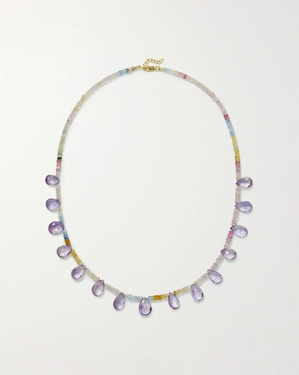 """""""Zoom meetings forced me to step up my jewelry game, and I plan to keep that train going through the upcoming reemergence. It's multicolor strand is just enough fun for summer. This necklace does more than just look good, as the stones were specifically chosen for the energy they carry—amethyst brings love and wisdom while sapphires bring good fortune. What more could one want?"""" - <em>SG</em> $995, Net-a-Porter. <a href=""""https://www.net-a-porter.com/en-us/shop/product/jia-jia/jewelry-and-watches/necklaces/gold-sapphire-and-amethyst-necklace/2204324139701648"""" rel=""""nofollow noopener"""" target=""""_blank"""" data-ylk=""""slk:Get it now!"""" class=""""link rapid-noclick-resp"""">Get it now!</a>"""