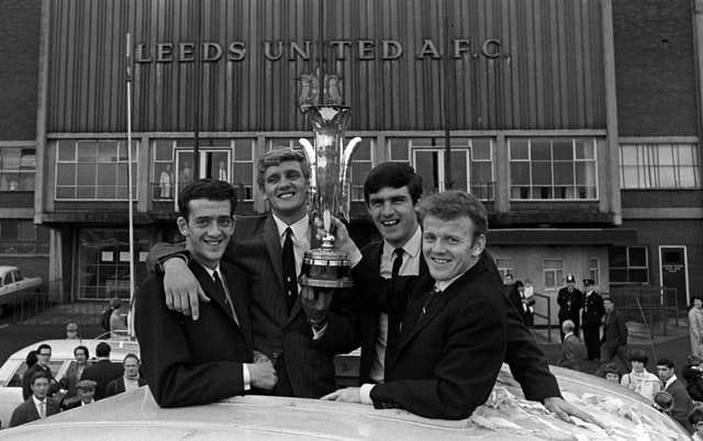 Leeds team-mates (left to right) Terry Hibbitt, Gary Sprake, Peter Lorimer and Billy Bremner with the Inter-Cities Fairs Cup following a 1-0 aggregate victory over Ferencvaros in the 1968 final