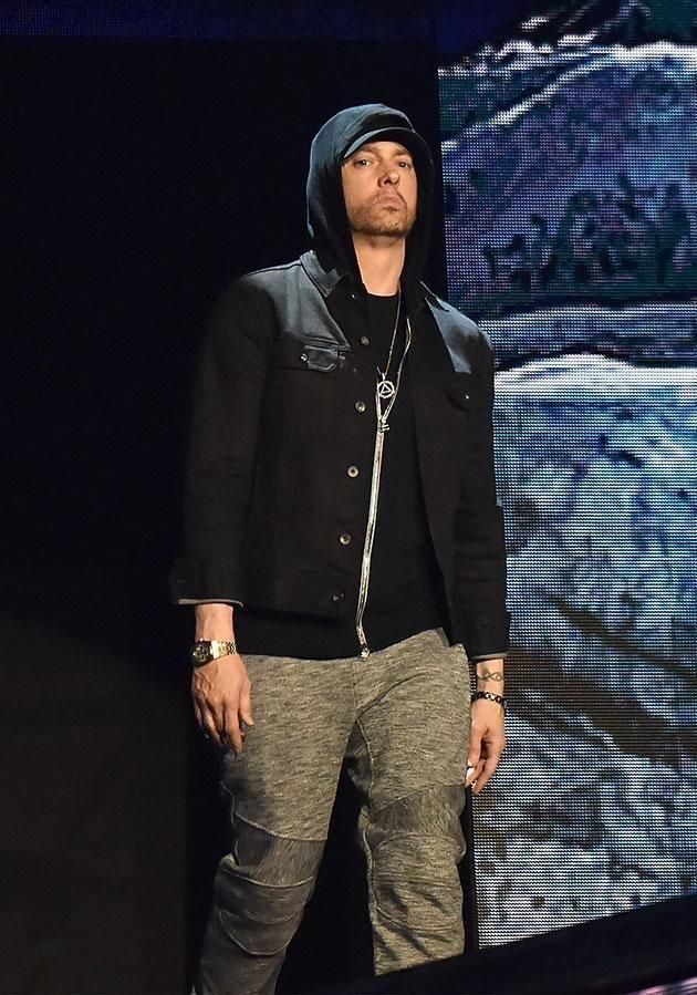 Eminem, seen here earlier in 2017, has denied the rumours he's gay. Source: Getty