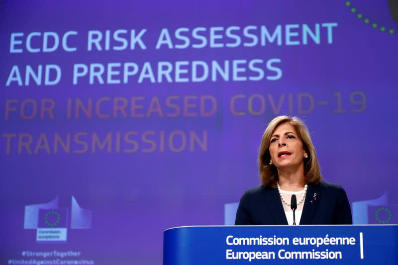 EU Commissioner Kyriakides holds news conference in Brussels