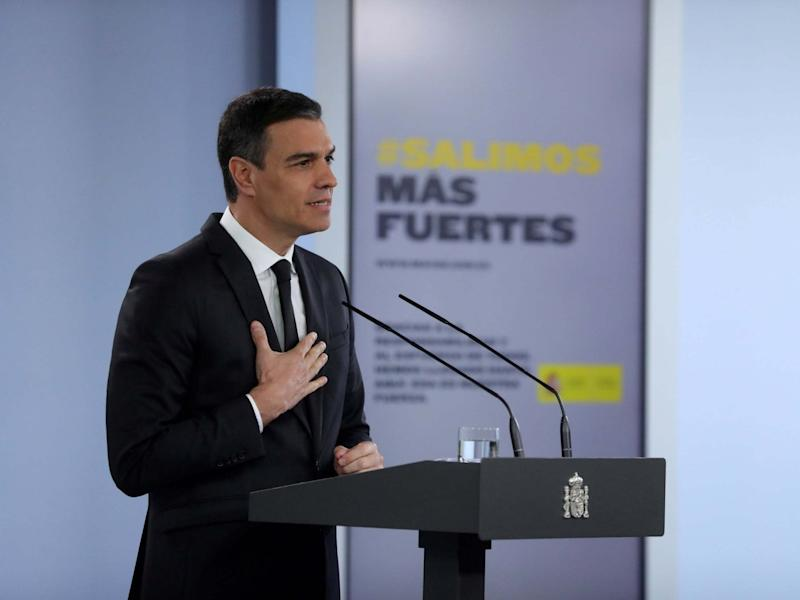 Spanish Prime Minister Pedro Sanchez attends a press conference after a meeting with the Spanish regional presidents on the coronavirus situation: EPA