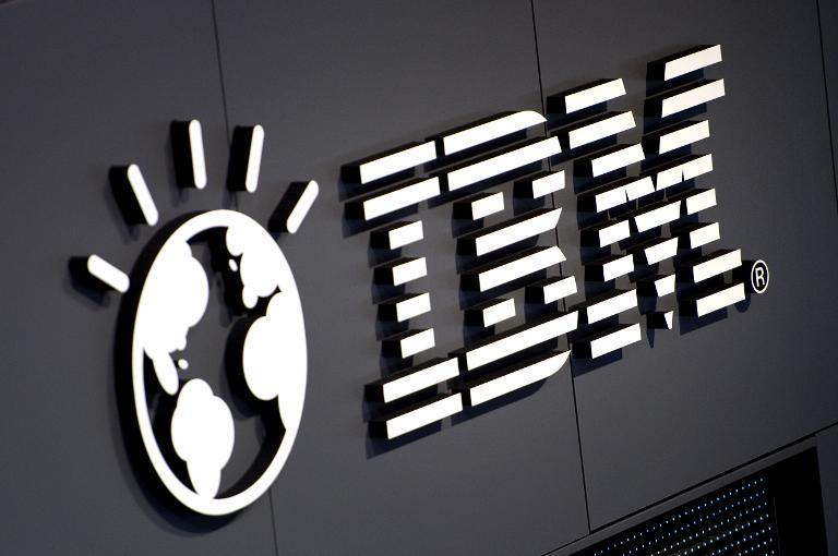 The IBM logo pictured on March 5, 2012 at their booth prior to the opening of the CeBIT IT fair in Hanover, Germany