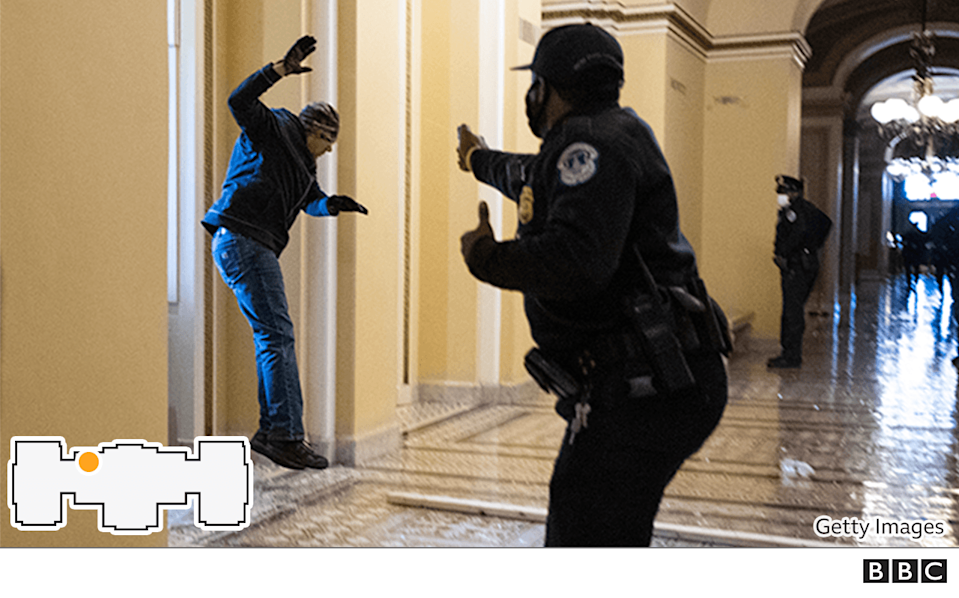 Police offer confronting a protester at the Capitol building
