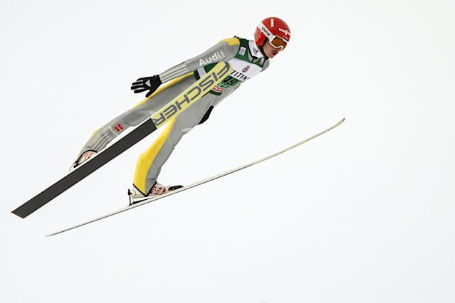 Lahti Ski Games - FIS Nordic World Cup - Men's Ski Jumping - Lahti, Finland - March 4, 2018. Richard Freitag of Germany competes. LEHTIKUVA/Roni Rekomaa via REUTERS ATTENTION EDITORS - THIS IMAGE WAS PROVIDED BY A THIRD PARTY. NO THIRD PARTY SALES. NOT FOR USE BY REUTERS THIRD PARTY DISTRIBUTORS. FINLAND OUT. NO COMMERCIAL OR EDITORIAL SALES IN FINLAND.