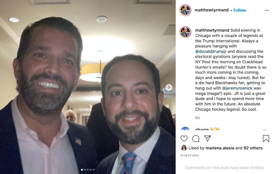 Donald Trump Jr. and Tyrmand take a picture together in Chicago on Oct. 14, 2020, the day Morris' first Biden story was published. (Photo: Matthew Tyrmand/Instagram)