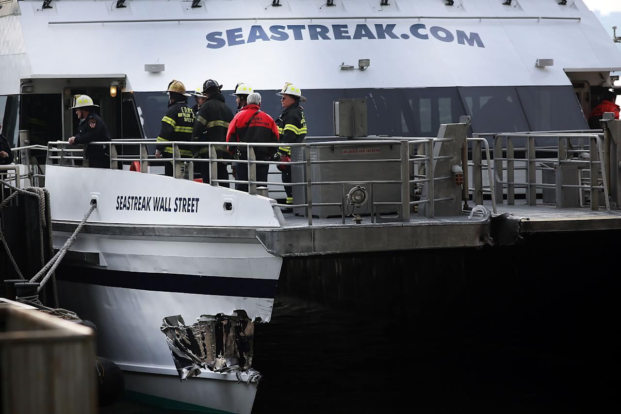 NEW YORK, NY - JANUARY 09:  A gash in the Seastreak ferry is viewed following an early morning ferry accident during rush hour in Lower Manhattan on January 9, 2013 in New York City. About 50 people were injured in the accident, which left a large gash on the front side of the Seastreak ferry at Pier 11.  (Photo by Spencer Platt/Getty Images)