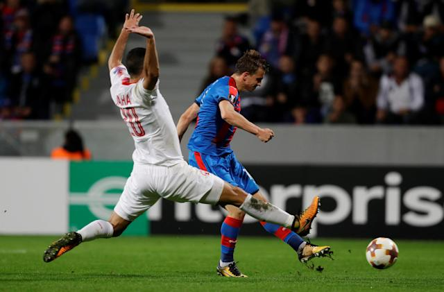 Soccer Football - Europa League - Viktoria Plzen vs Hapoel Be'er Sheva - Doosan Arena, Pizen, Czech Republic - September 28, 2017 Viktoria Plzen's Jan Kopic scores their second goal REUTERS/David Cerny