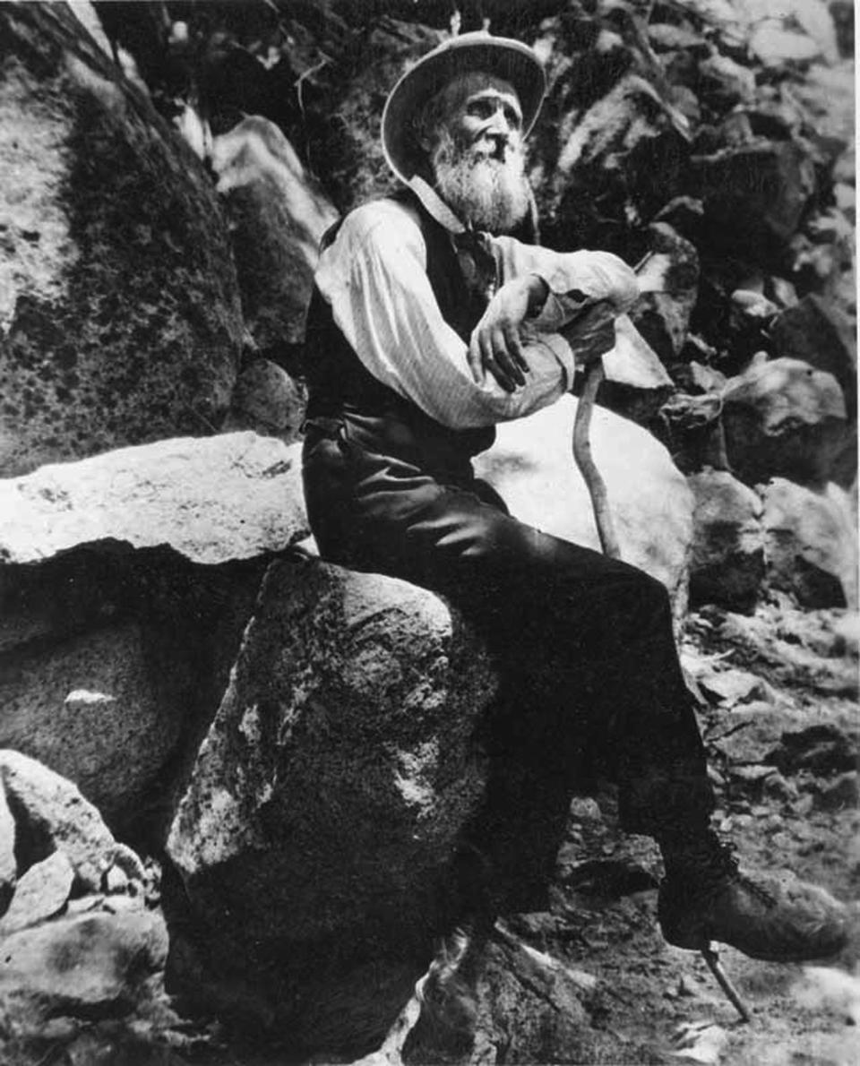 FILE - This 1907 photo provided by the U.S. National Park Service shows naturalist John Muir in Yosemite National Park, Calif. The Sierra Club is reckoning with the racist views of founder John Muir, the naturalist who helped spawn environmentalism. The San Francisco-based environmental group said Wednesday, July 22, 2020, that Muir was part of the group's history perpetuating white supremacy. Executive Director Michael Brune says Muir made racist remarks about Black people and Native Americans, though his views later evolved. (U.S. National Park Service via AP)