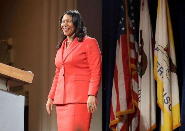 PHOTO: San Francisco Mayor London Breed smiles while delivering her state of the city address in San Francisco, Jan. 30, 2019. (Jeff Chiu/AP, FILE)