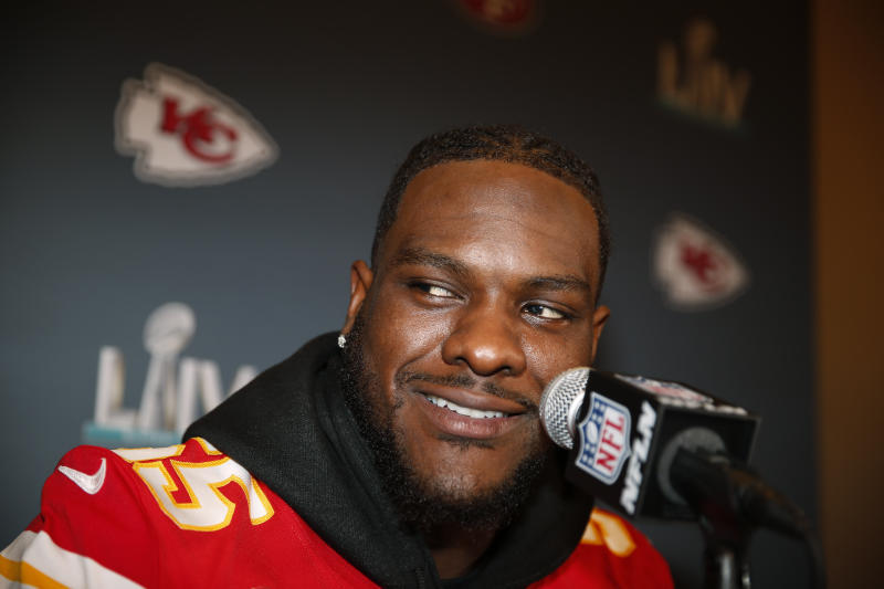 Kansas City Chiefs defensive end Frank Clark (55) during a news conference on Tuesday, Jan. 28, 2020, in Aventura, Fla., for the NFL Super Bowl 54 football game. (AP Photo/Brynn Anderson)