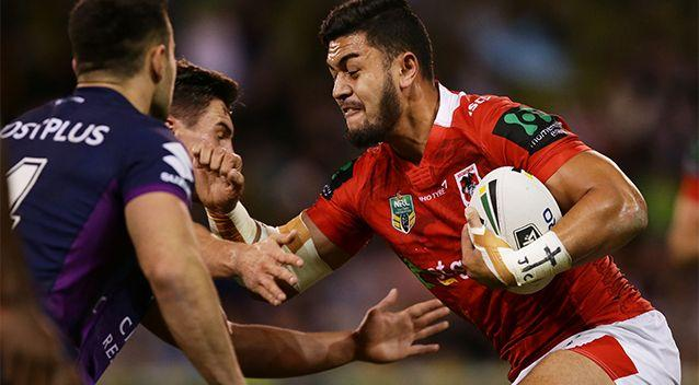 Timoteo Lafai of the Dragons takes on the defence during the round 15 NRL match between the St George Illawarra Dragons and the Melbourne Storm at WIN Stadium on June 18, 2016 in Wollongong. Photo: Getty Images