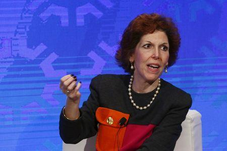 Cleveland Fed President Loretta Mester takes part in a panel convened to speak about the health of the U.S. economy in New York