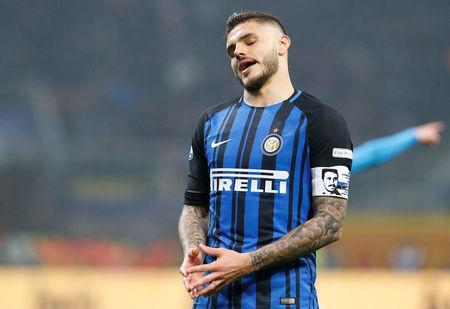 Soccer Football - Serie A - Inter Milan v Napoli - San Siro, Milan, Italy - March 11, 2018 Inter Milan's Mauro Icardi reacts REUTERS/Stefano Rellandini