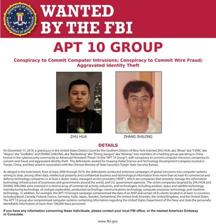 FILE PHOTO: Zhu Hua and Zhang Shilong, members of a hacking group, appear on a FBI poster