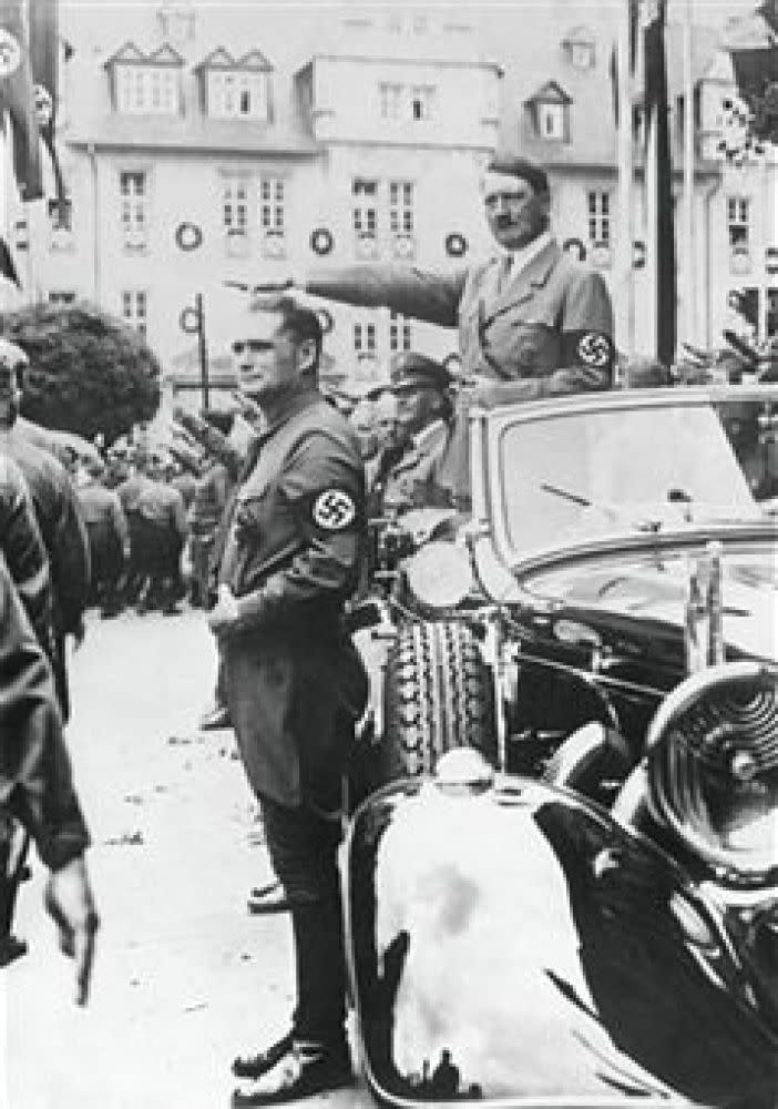 Nazism - Germany - 20th century - Nazi gathering in Weimar - Adolf Hitler during the divisions parade - Rudolf Hess standing by the car (1936)