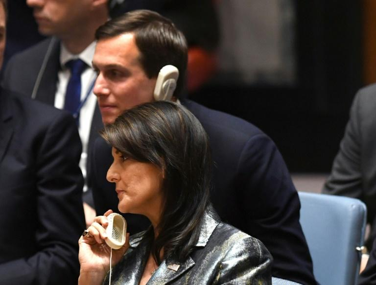Nikki Haley, US ambassador to the United Nations, and Jared Kushner, US President Donald Trump's son-in-law, listen to a speech by Palestinian leader Mahmud Abbas at the United Nations Security Council on February 20, 2018