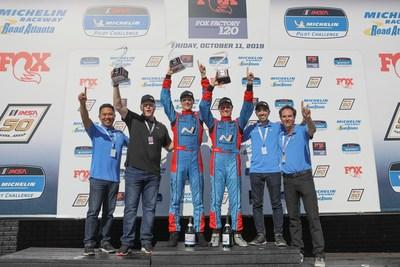 Mark Wilkins and Michael Lewis Win 2019 IMSA Michelin Pilot Challenge Drivers' Championship in Hyundai Veloster TCR Race Car (Left to Right, Dean Mayuga, Hyundai, Paul Imhoff, Michael Lewis, Driver, Mark Wilkins, Driver, Ross Rosenburg, Hyundai, Bryan Herta, Team Owner)