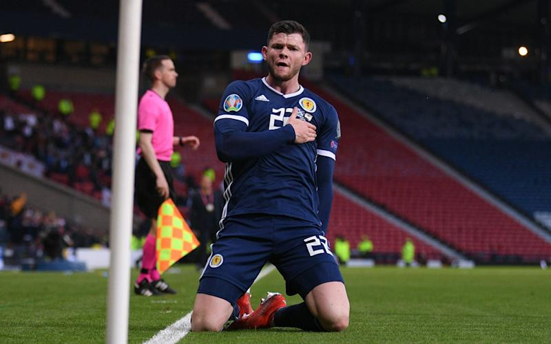 Oliver Burke celebrates scoring Scotland's winning goal against Cyprus - UEFA