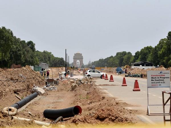 Visuals of the construction site of the Central Vista Project in New Delhi. (Photo/ANI)