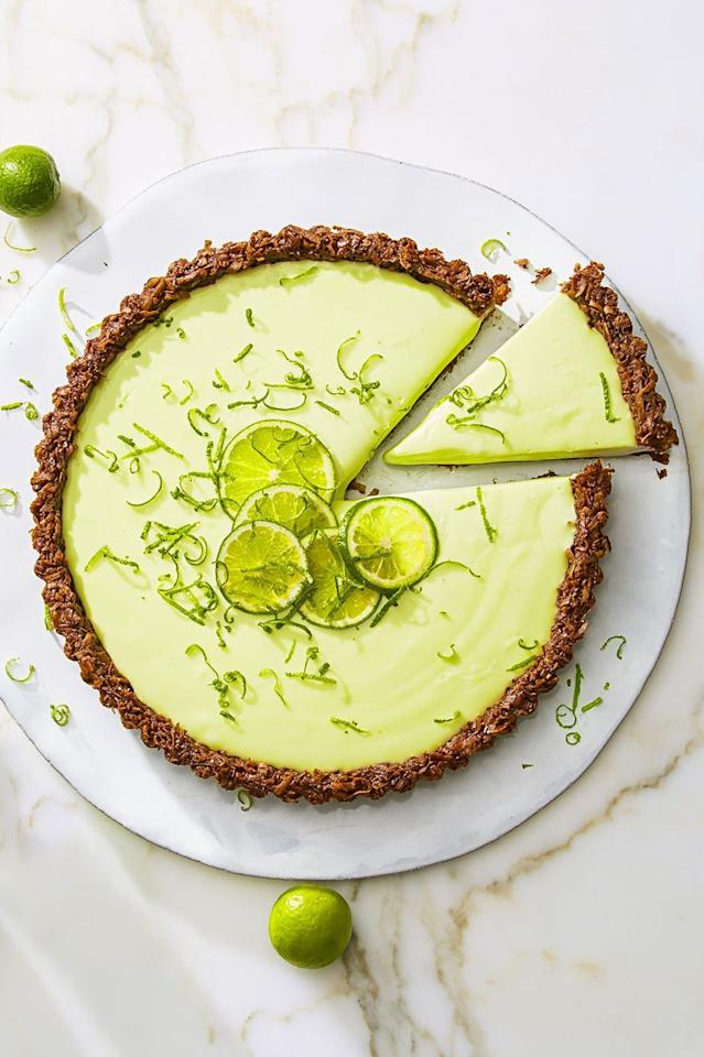 """<p>Some of the best, most classic flavors come together in this lime tart with a cream cheese filling (and a chocolate coconut crust!).</p><p><em><a href=""""https://www.goodhousekeeping.com/food-recipes/dessert/a43461/cocoa-nutty-lime-tart-recipe/"""" target=""""_blank"""">Get the recipe for Cocoa-Nutty Lime Tart »</a></em></p>"""