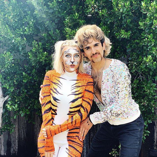 "<p>After all, Joe and Carole's mutual love of tigers is what started this all and brought us<em> Tiger King </em>in the first place. Whether your significant other is dressing up as Joe Exotic in <a href=""https://www.amazon.com/Sequin-Cosplay-Vintage-Halloween-Costume/dp/B089DDMRBL/?tag=syn-yahoo-20&ascsubtag=%5Bartid%7C10055.g.33311235%5Bsrc%7Cyahoo-us"" rel=""nofollow noopener"" target=""_blank"" data-ylk=""slk:his signature sequined shirt"" class=""link rapid-noclick-resp"">his signature sequined shirt</a> or as Carole Baskin in flower crown, you'll match either in a tiger costume. </p><p><a class=""link rapid-noclick-resp"" href=""https://www.amazon.com/Pajamas-Kigurumi-Hoodie-Jumpsuit-Playsuit/dp/B074Z9Q8MT?tag=syn-yahoo-20&ascsubtag=%5Bartid%7C10055.g.33311235%5Bsrc%7Cyahoo-us"" rel=""nofollow noopener"" target=""_blank"" data-ylk=""slk:SHOP TIGER COSTUME"">SHOP TIGER COSTUME </a></p><p><a href=""https://www.instagram.com/p/B-4s5scgM66/&hidecaption=true"" rel=""nofollow noopener"" target=""_blank"" data-ylk=""slk:See the original post on Instagram"" class=""link rapid-noclick-resp"">See the original post on Instagram</a></p>"