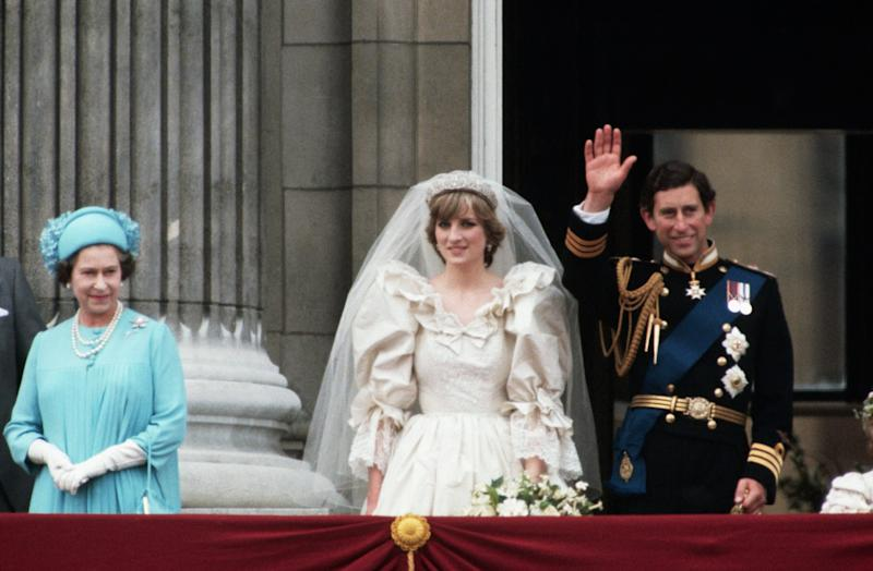 The Queen with Princess Diana and Prince Charles on the balcony at Buckingham Palace on their wedding day in 1981 [Photo: Getty]