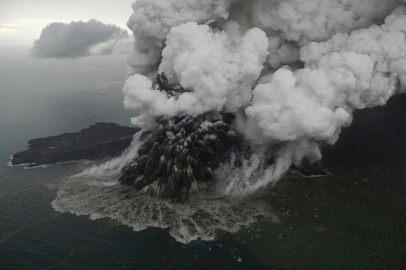 Indonesia's Anak Krakatau volcano lost two-thirds of its height