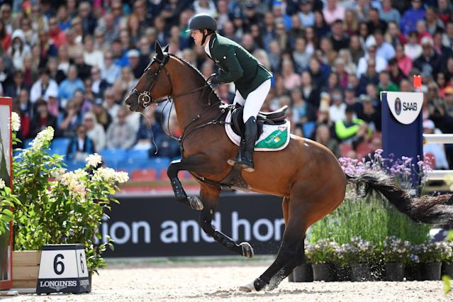 Equestrian - FEI European Championships 2017 - Jumping Individual Final - Ullevi Stadium, Gothenburg, Sweden - August 27, 2017 - Shane Sweetnam of Ireland on his horse Chaqui Z jumps. TT News Agency/Pontus Lundahl via REUTERS ATTENTION EDITORS - THIS IMAGE WAS PROVIDED BY A THIRD PARTY. SWEDEN OUT. NO COMMERCIAL OR EDITORIAL SALES IN SWEDEN