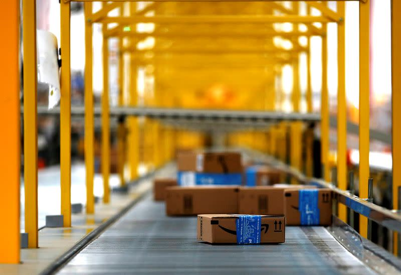 Amazon packages are seen at the new Amazon warehouse during its opening announcement on the outskirts of Mexico City