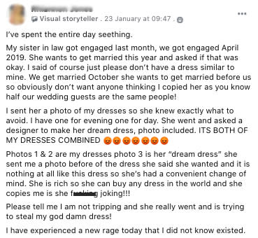 a screenshot of a facebook comment from an angry bride