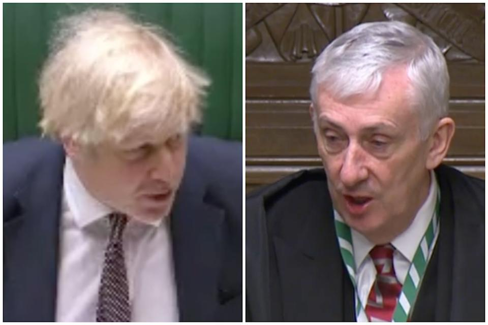 Boris Johnson was told by Sir Lindsay Hoyle: 'Please, let's keep the discipline in this chamber.' (Parliamentlive.tv)