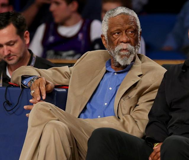 Bill Russell, shown February 15, 2014 in New Orleans, Louisiana, has been hospitalized after collapsing during a corporate speaking event at a resort town on the shores of Lake Tahoe (AFP Photo/Ronald Martinez)