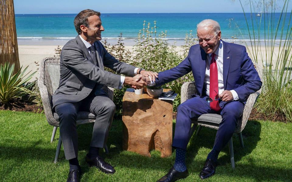 Biden and Macron at the G7 in Cornwall