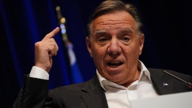 Quebec Premier François Legault slammed a controversial question posed to BlocQuébécois Leader Yves-François Blancheton the province's secularism and language laws during last night's English federal election debate (Sylvain Roy Roussel/Radio-Canada - image credit)