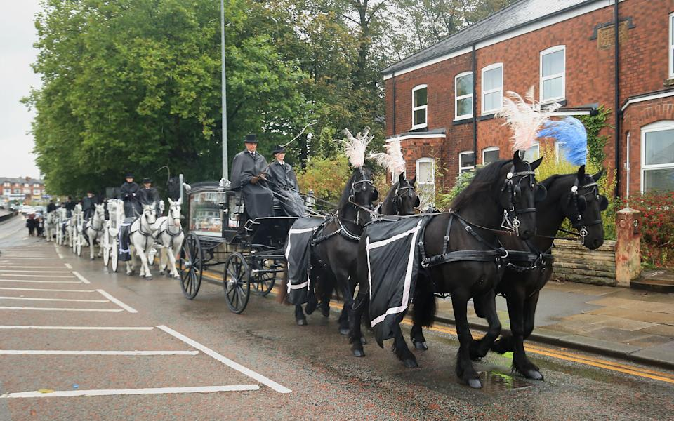 The funeral procession of Michelle Pearson leaving St Paul's Church, Walkden after her funeral. Ms Pearson, 37, died on August 25 after spending 20 months in hospital with horrific burns she suffered in a murderous arson attack on her home that killed four of her children. PA Photo. Picture date: Friday September 27, 2019. See PA story FUNERAL Walkden. Photo credit should read: Danny Lawson/PA Wire