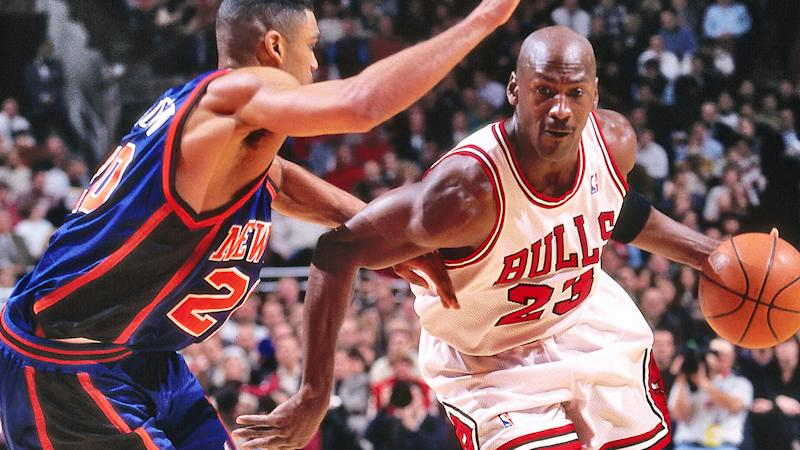 Michael Jordan is pictured against the New York Knicks in 1997.