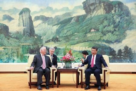 U.S. Secretary of State Rex Tillerson meets with Chinese President Xi Jinping at the Great Hall of the People in Beijing