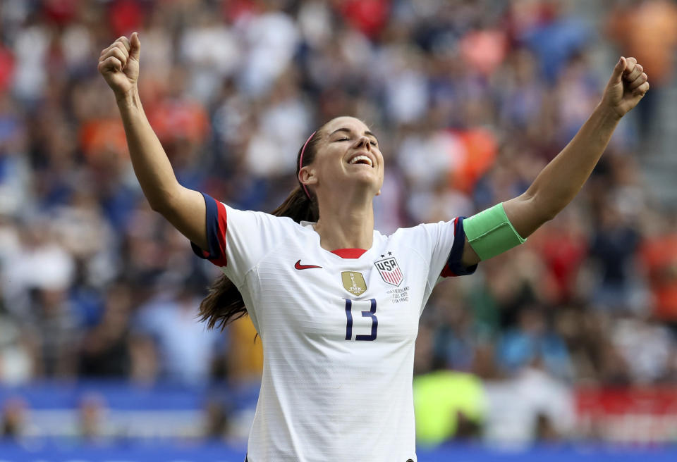Alex Morgan celebrates at the end of the Women's World Cup final soccer match between US and The Netherlands at the Stade de Lyon in Decines, outside Lyon, France, Sunday, July 7, 2019. US won 2:0. (AP Photo/David Vincent)