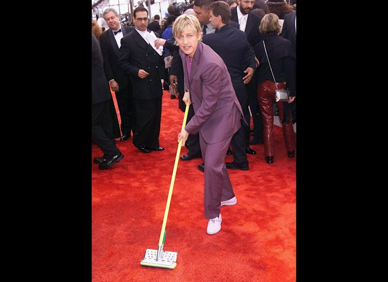 Who needs a janitor when Ellen DeGeneres is at the Grammy Awards?