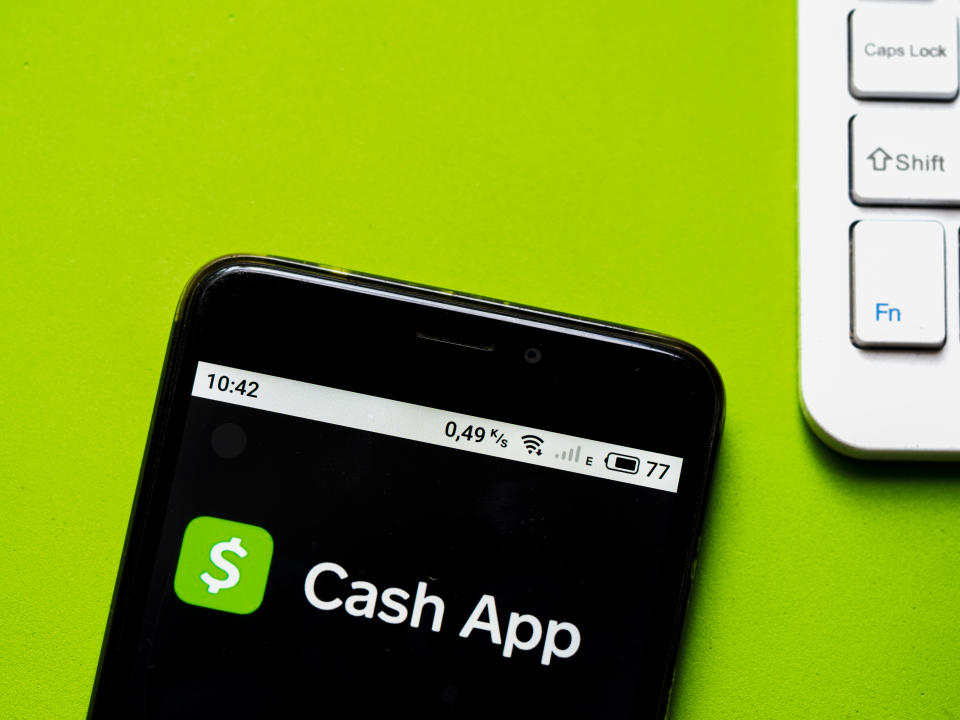 UKRAINE - 2020/10/12: In this photo illustration a Cash App logo seen displayed on a smartphone. (Photo Illustration by Igor Golovniov/SOPA Images/LightRocket via Getty Images)