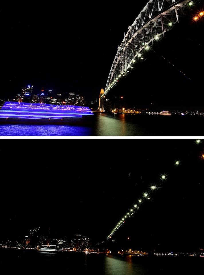 SYDNEY, AUSTRALIA - MARCH 31:  (EDITORS NOTE: Image is a digital composite) In this composite image the Sydney Harbour Bridge and city skyline is seen before (top) and after the lights are switched off for Earth Hour on March 31, 2012 in Sydney, Australia. Earth Hour encourages individuals around the world to turn off their lights for one hour at 20:30 local time on March 31, 2012 to take a stand against climate change.  (Photo by Lisa Maree Williams/Getty Images)